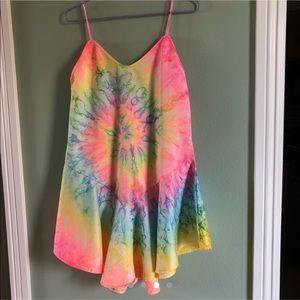 Rare UNIF Rainbow Tie Dye Dress Super Cute EUC 🌈